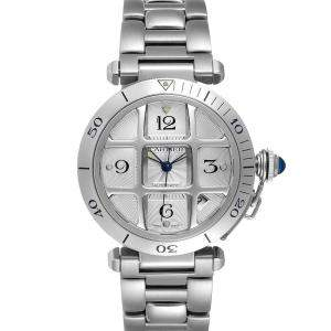 Cartier Silver Stainless Steel Pasha W31059H3 Men's Wristwatch 38 MM
