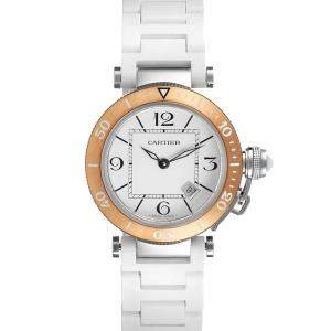 Cartier Silver 18K Rose Gold And Stainless Steel Pasha Seatimer W3140001 Men's Wristwatch 33 MM