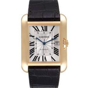 Cartier Silver 18K Yellow Gold Tank Anglaise XL W5310032 Men's Wristwatch 47 x 36 MM