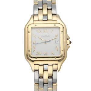 Cartier Silver 18K Yellow Gold And Stainless Steel Panthere 1060 Men's Wristwatch 29 MM