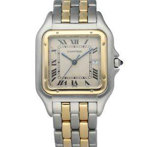 Cartier Silver 18k Yellow Gold And Stainless Steel Panthere Men's Wristwatch 28 MM