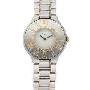 Cartier White Gold Tone Stainless Steel Must de Cartier 21 Quartz Men's Wristwatch 28 MM