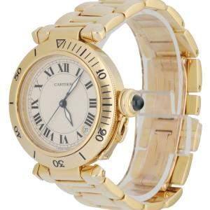 Cartier Silver 18K Yellow Gold Pasha Men's Wristwatch 36 MM