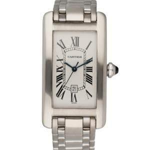 Cartier Silver 18K White Gold Tank Americaine 1726 Automatic Men's Wristwatch 23 MM