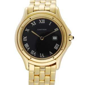 Cartier Black 18K Yellow Gold Cougar Panthere 116000R Men's Wristwatch 34 MM