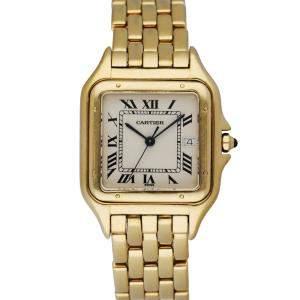 Cartier Silver 18K Yellow Gold Panthere Men's Wristwatch 29 MM