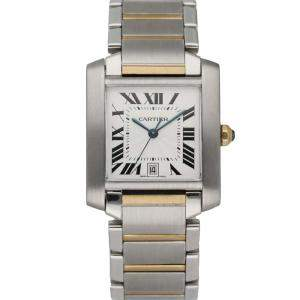 Cartier Silver 18k Yellow Gold And Stainless Steel Tank Francaise 2302 Automatic Men's Wristwatch 28 MM