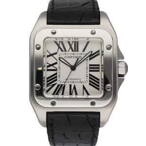 Cartier Silver Stainless Steel Santos-100 2656 Men's Wristwatch 38 MM