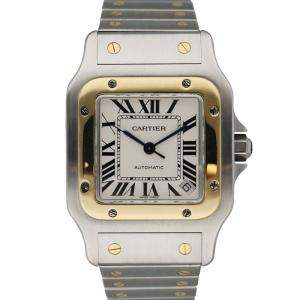 Cartier Silver 18K Yellow Gold And Stainless Steel Santos Galbee 2823 Automatic Men's Wristwatch 32 MM