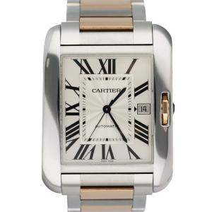 Cartier Silver 18K Rose Gold And Stainless Steel Tank Anglaise 3507 Men's Wristwatch 37 MM