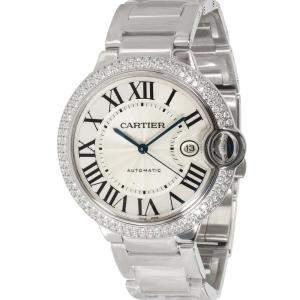 Cartier Silver Diamonds 18K White Gold Ballon Bleu WE9009Z3 Men's Wristwatch 42 MM