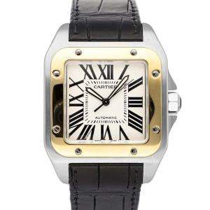 Cartier White 18K Yellow Gold And Stainless Steel Santos 100 W20072X7 Men's Wristwatch 51 x 41 MM