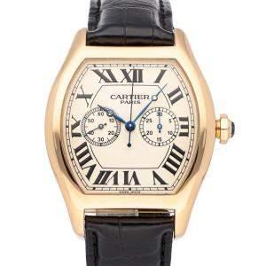 Cartier Silver 18K Rose Gold Tortue XL Monopusher Chronograph W1547451 Men's Wristwatch 37 x 38 MM