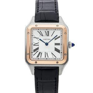 Cartier Silver 18K Rose Gold And Stainless Steel Santos-Dumont Large Model W2SA0011 Men's Wristwatch 31  x 43.5 MM