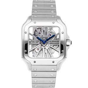 Cartier Silver Stainless Steel Santos De Cartier WHSA0015 Men's Wristwatch 39 MM