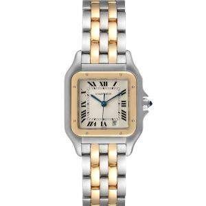 Cartier Silver 18K Yellow Gold And Stainless Steel Panthere W25028B8 Men's Wristwatch 26 x 36 MM