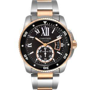 Cartier Black 18K Rose Gold And Stainless Steel Calibre Diver W7100054 Men's Wristwatch 42 MM