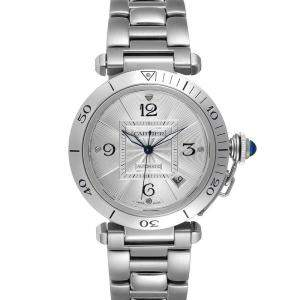 Cartier Silver Stainless Steel Pasha Automatic W31059H3 Men's Wristwatch 38 MM