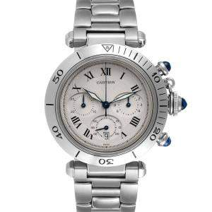 Cartier Silver Stainless Steel Pasha Chronograph W31018H3 Men's Wristwatch 38 MM