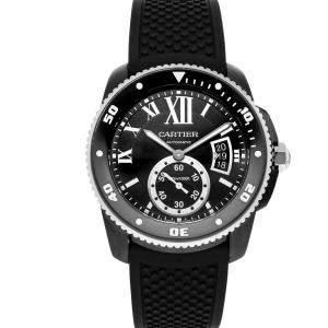 Cartier Black ADLC Coated Stainless Steel Calibre De Cartier Diver WSCA0006 Men's Wristwatch 42 MM