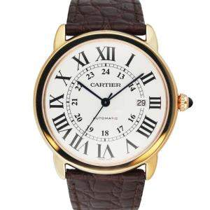 Cartier Silver 18K Rose Gold Ronde Solo W6701009 Men's Wristwatch 42 MM