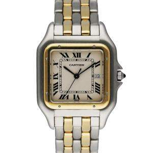 Cartier Silver 18K Yellow Gold And Stainless Steel Panthere Men's Wristwatch 29 MM