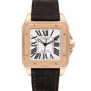 Cartier Silver 18K Rose Gold Santos 100 W20108Y1 Men's Wristwatch 33 MM