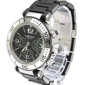 Cartier Black Stainless Steel Pasha Seatimer W31088U2 Chronograph Automatic Men's Wristwatch 42 MM