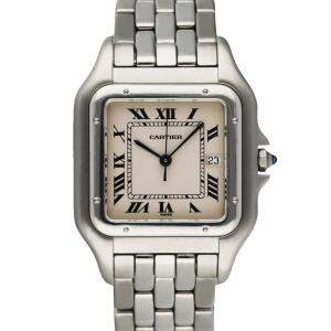 Cartier Silver Stainless Steel Panthere 1300 Men's Wristwatch 30 MM