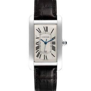 Cartier Silver 18K White Gold Tank Americaine W2603256 Men's Wristwatch 25 x 45 MM