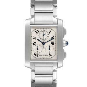 Cartier Silver Stainless Steel Tank Francaise Chronoflex Chronograph W51001Q3 Men's Wristwatch 37 x 28 MM