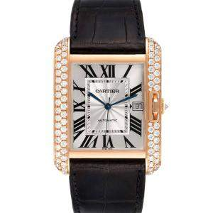 Cartier Silver Diamonds 18K Rose Gold Tank Anglaise XL WT100021 Men's Wristwatch 47 x 36 MM