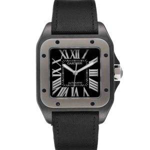 Cartier Black PVD Stainless Steel Santos 100 W2020010 Men's Wristwatch 38 MM