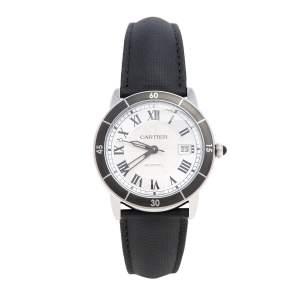 ساعة يد رجاية كارتييه روند كرواسيار دبليو أس أر أن0002 جلد ستانلس ستيل فضي 42 مم