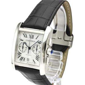 Cartier Silver Stainless Steel Tank MC Chronograph Automatic W5330007 Men's Wristwatch 34 MM