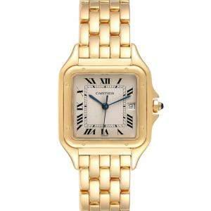 Cartier Silver 18K Yellow Gold Panthere XL W25014B9 Men's Wristwatch 29 MM
