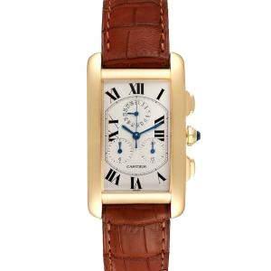 Cartier Silver 18K Yellow Gold Tank Americaine Chronograph W2601156 Men's Wristwatch 36 x 27 MM