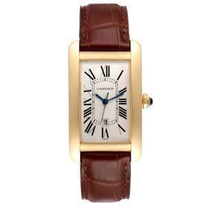 Cartier Silver 18K Yellow Gold Tank Americaine Automatic W2603156 Men's Wristwatch 26 x 45 MM