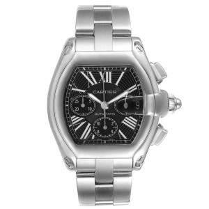 Cartier Black Stainless Steel Roadster XL Chronograph W62020X6 Men's Wristwatch 49 x 43 MM
