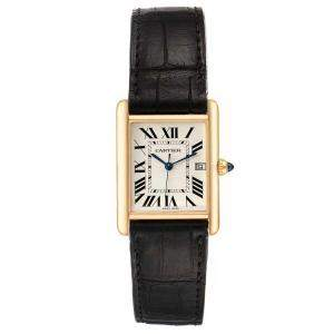 Cartier Silver 18k Yellow Gold Tank Louis W1529756 Men's Wristwatch 25 x 33 MM