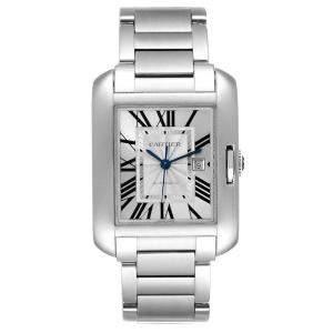 ساعة يد رجالية كارتييه تانك أغليز دبليو5210009 ستانلس ستيل فضي 32 × 29 مم