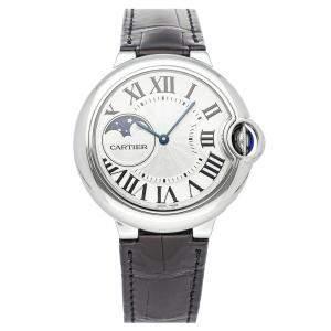 Cartier Silver Stainless Steel Ballon Bleu Moon Phase WSBB0020 Men's Wristwatch 37 MM