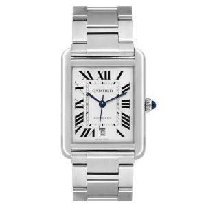 ساعة يد رجالية كارتييه تانك سولو XL أوتوماتيك W5200028 ستانلس ستيل فضية 31 x 40 مم