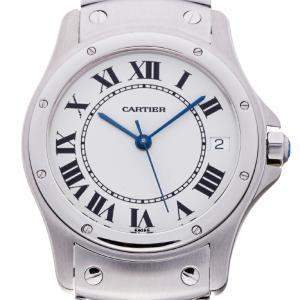 Cartier Silver Stainless Steel Santos Ronde W20026K1 Men's Wristwatch 33 MM