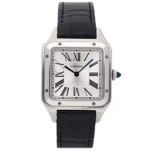 Cartier Silver Stainless Steel Santos Dumont WSSA0022 Men's Wristwatch 43 x 31 MM