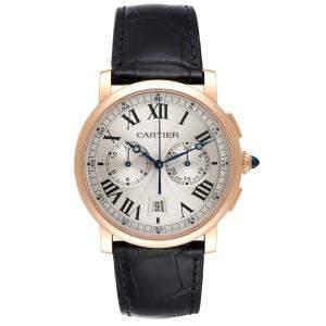 Cartier Silver 18k Rose Gold Rotonde Chronograph W1556238 Men's Wristwatch 40 MM