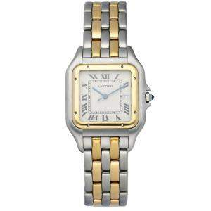 Cartier Silver 18k Yellow Gold And Stainless Steel Panthere 183957 Men's Wristwatch 29 MM