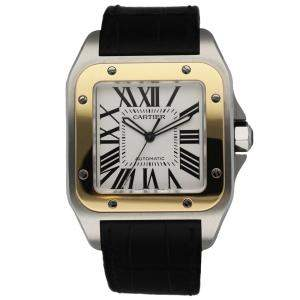 Cartier Silver 18K Yellow Gold And Stainless Steel Santos 100 2656 Automatic Men's Wristwatch 41.5 MM