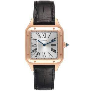 Cartier Silver 18K Rose Gold Santos Dumont WGSA0021 Men's Wristwatch 43.5 x 31 MM