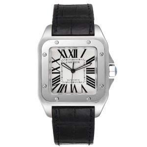 Cartier Silver Stainless Steel Santos 100 W20073X8 Men's Wristwatch 38 MM